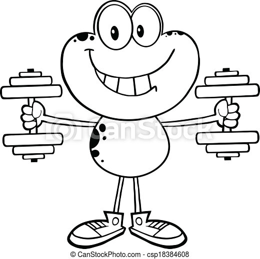 Black And White Frog With Dumbbells - csp18384608