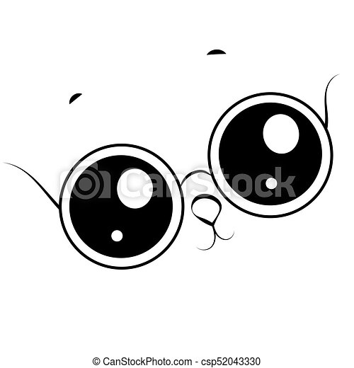Black and white funny face with glasses isolated on white background - csp52043330
