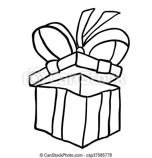 Black And White Gift Box With Ribbon Cartoon Doodle