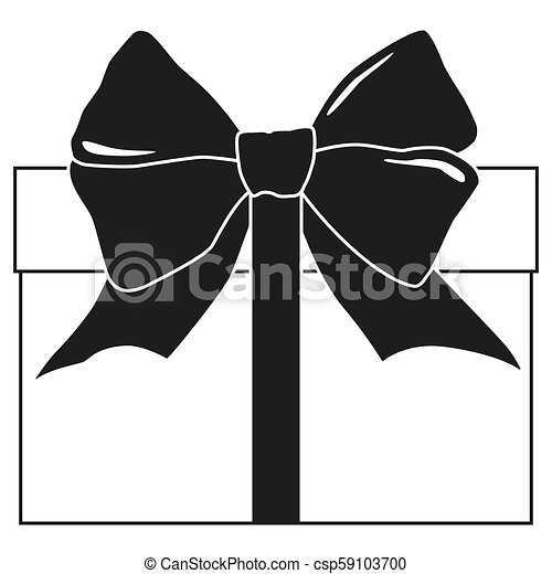 Black And White Gift Box Silhouette Present For Christmas Or Birthday Holiday Themed Vector Illustration For Icon Sticker