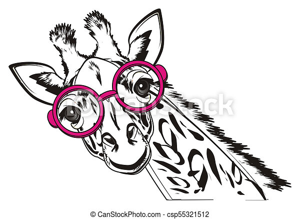 Black And White Giraffe In Glasses Black And White Giraffe In Pink