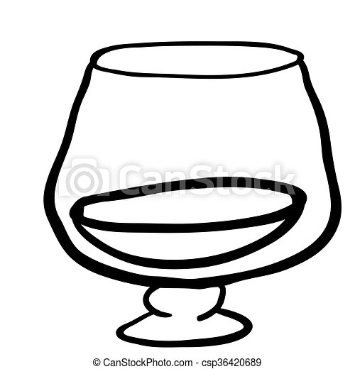 Black and white glass of cognac csp36420689