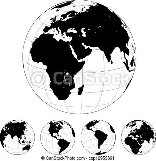 Black And White Globe Vector