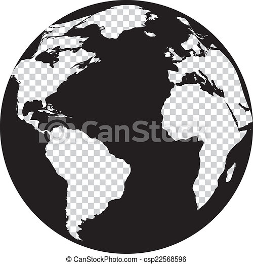 Black And White Globe With Transparency Continents   Csp22568596