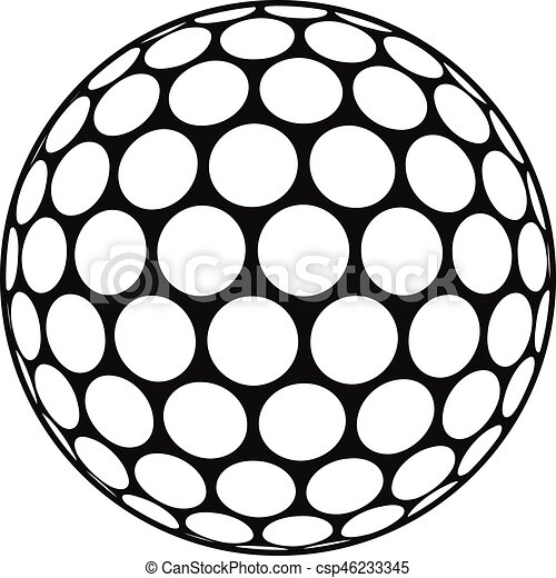 Black And White Golf Ball Icon, Simple Style   Csp46233345