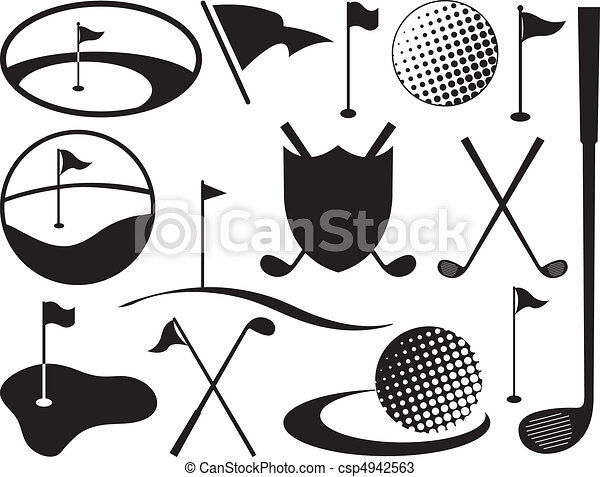 Black and White Golf Icons - csp4942563