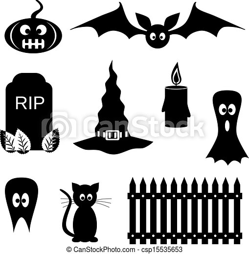Black and white halloween symbols clipart vector - Search ...