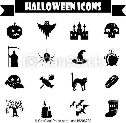 Halloween Vector Black And White.Black And White Halloween Vector Icons Set