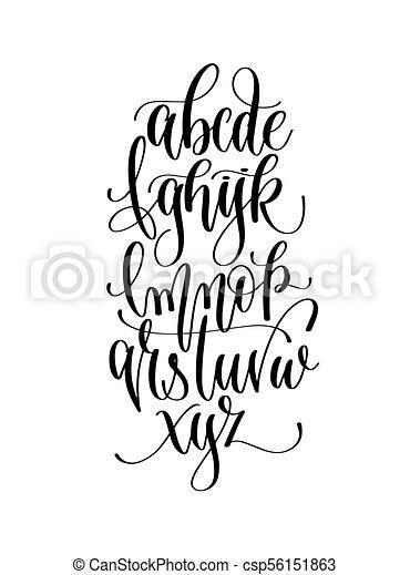 Black And White Hand Lettering Alphabet Design Handwritten Brush Script