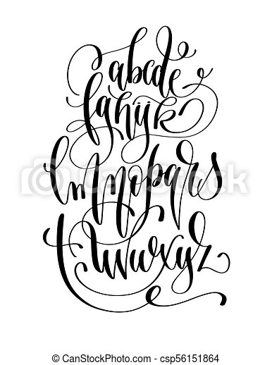 Black And White Hand Lettering Alphabet Design Handwritten Brush Script