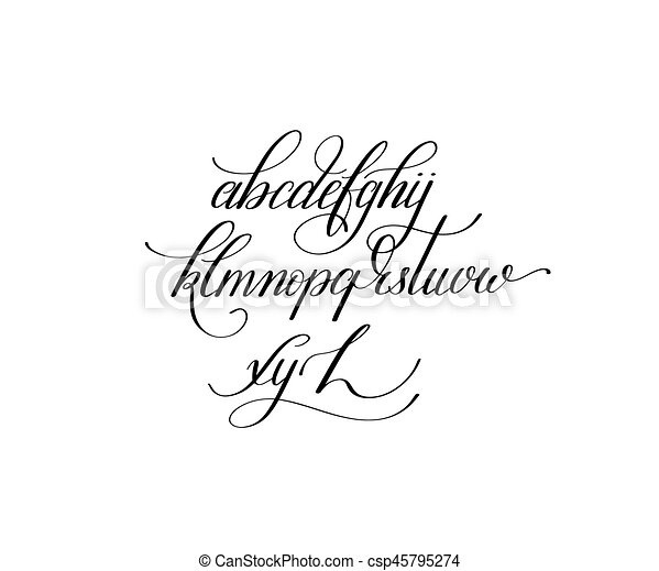 Black And White Hand Lettering Alphabet Design Handwritten Brus