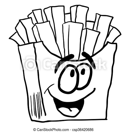 black and white happy french fries cartoon vector search clip art rh canstockphoto com french bulldog clipart black and white france flag clipart black and white