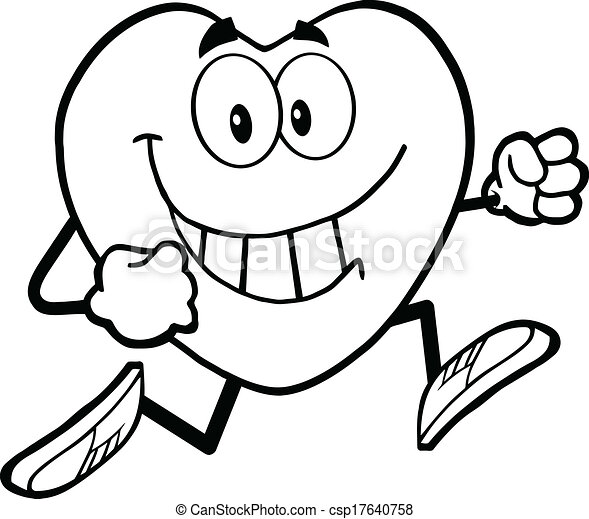 Black and white heart running. Black and white smiling ...