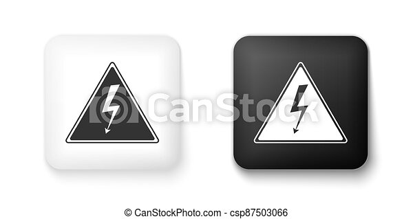Black and white High voltage sign icon isolated on white background. Danger symbol. Arrow in triangle. Warning icon. Square button. Vector - csp87503066