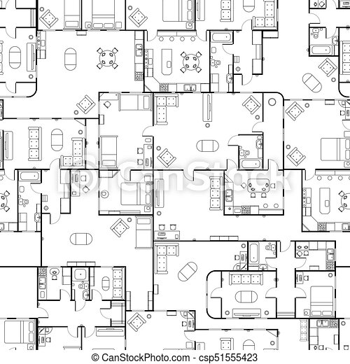Black and white house floor plan with interior details vector