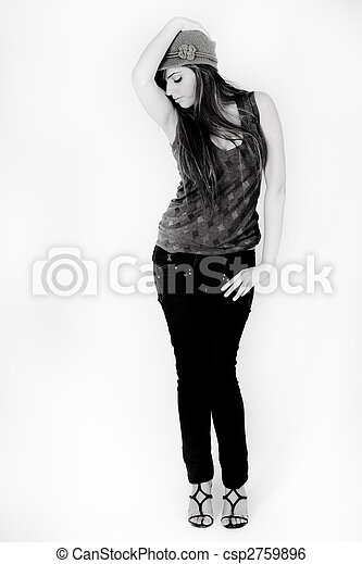 Black and white image of a standing model - csp2759896