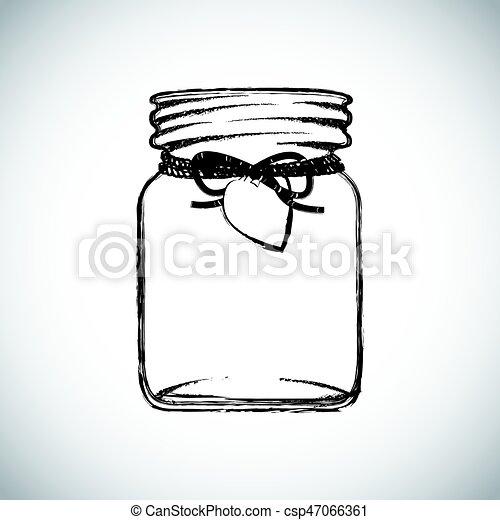 black and white jam jar illustration - csp47066361