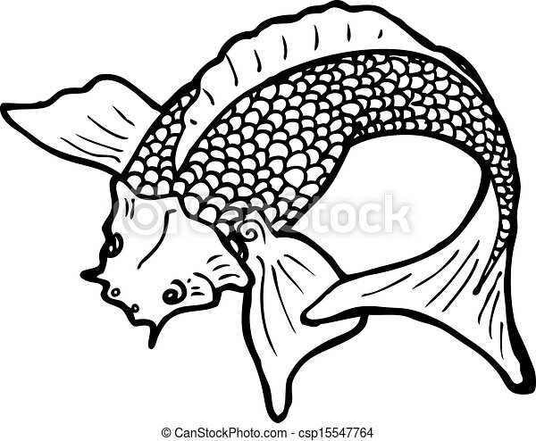 Black and white japanese fish tattoo csp15547764