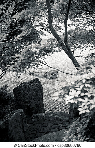 Black And White: Japanese Stone Garden With Plants   Csp30680760