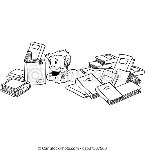 black and white kid with books - csp37587560