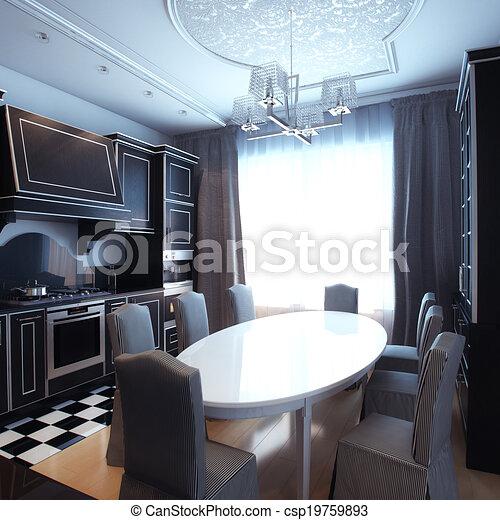Black And White Kitchen Interior  - csp19759893
