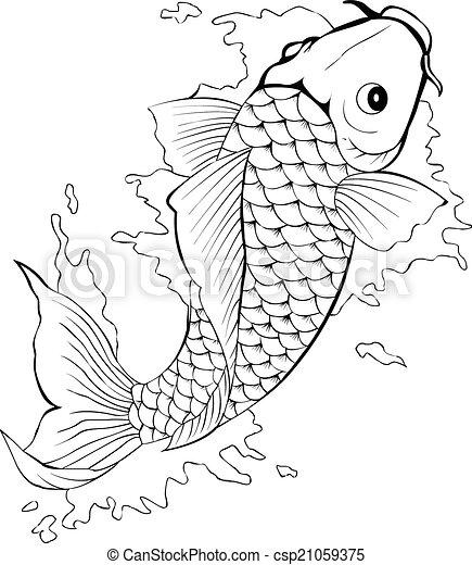 Black And White Koi Fish Tattoo