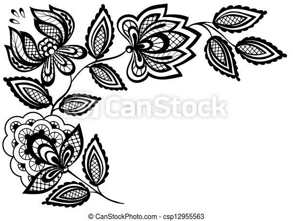 Black and white lace flowers and leaves isolated on white clip black and white lace flowers and leaves isolated on white csp12955563 mightylinksfo