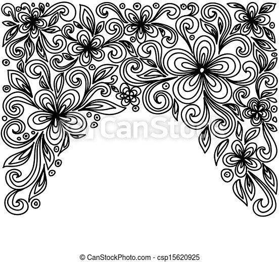 Black and white lace flowers and leaves isolated on white. Floral design element in retro style. - csp15620925