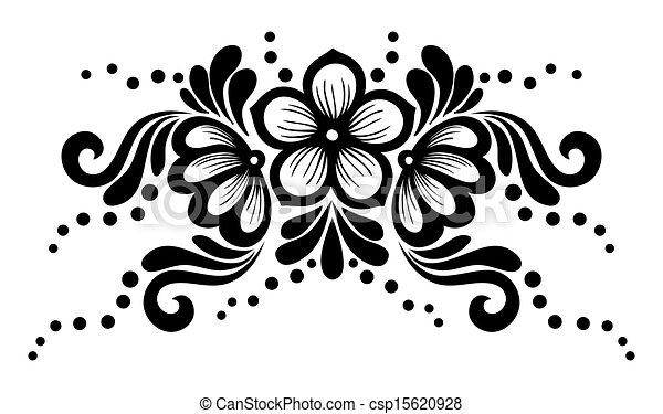 Black and white lace flowers and leaves isolated on white. Floral design element in retro style. - csp15620928
