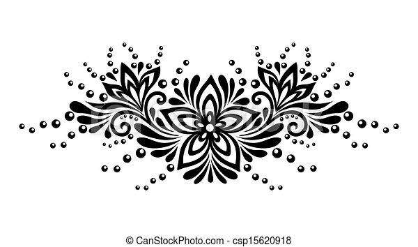 Black and white lace flowers and leaves isolated on white. Floral design element in retro style. - csp15620918