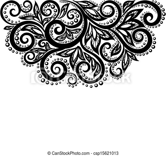 Black and white lace flowers and leaves isolated on white. Floral design element in retro style. - csp15621013