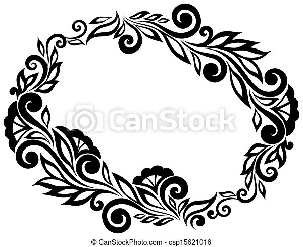 Black and white lace flowers and leaves isolated on white. Floral design element in retro style. - csp15621016