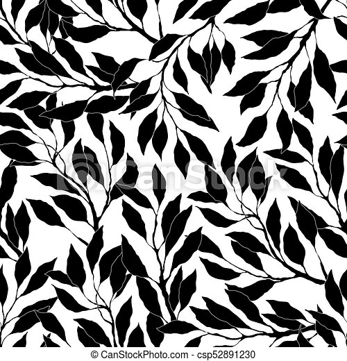 Black And White Leaves Pattern Black And White Leaves And Branches