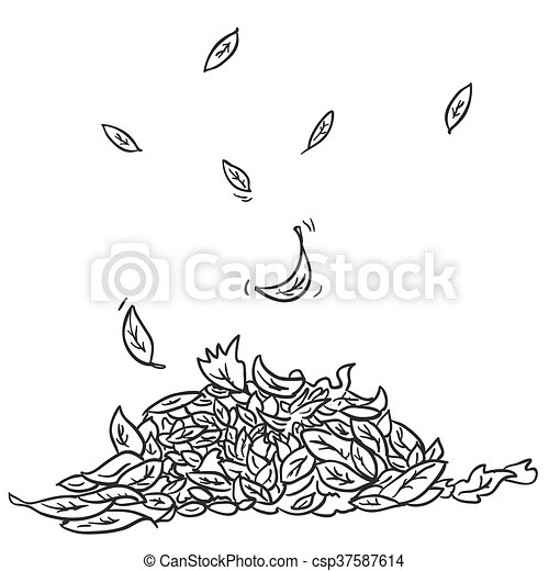 Black And White Leaves Black And White Pile Of Leaves Cartoon Illustration