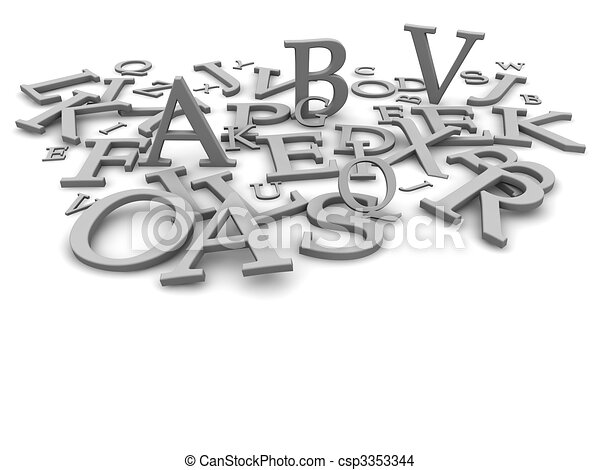 Black and white letters background. 3d rendered illustration - csp3353344
