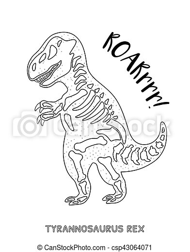 Black and white line art with dinosaur skeleton - csp43064071