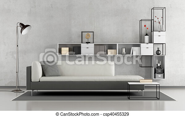 Black and white living room - csp40455329