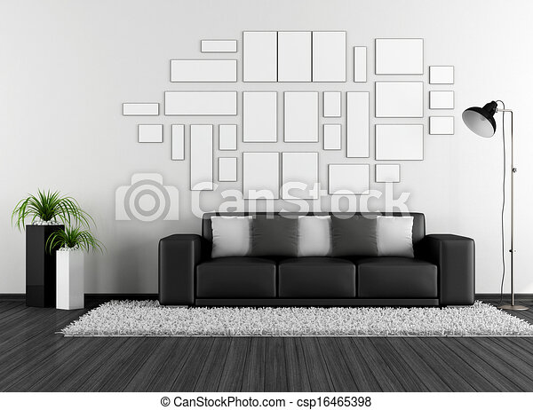 Black and white living room - csp16465398