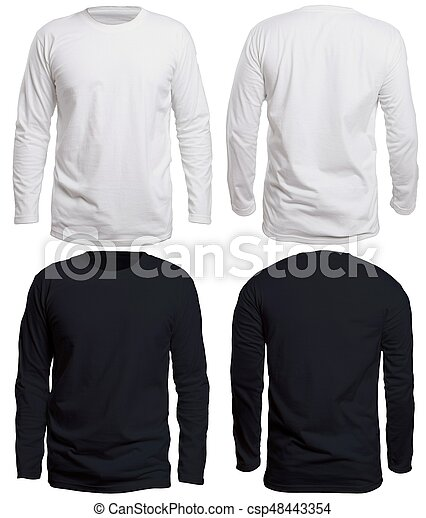 Black and white long sleeve shirt mock up. Blank long sleve shirt ... 67d29b54078