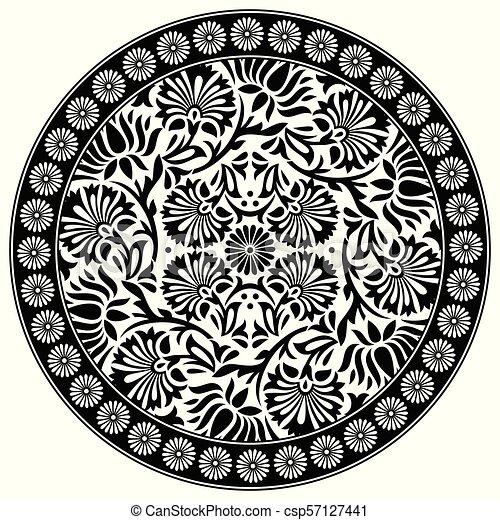 Black and white lotus flower motif black and white lotus flower motif csp57127441 mightylinksfo
