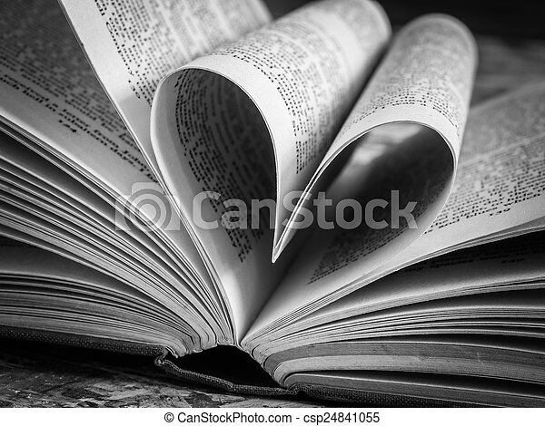Black And White Love Heart In A Book