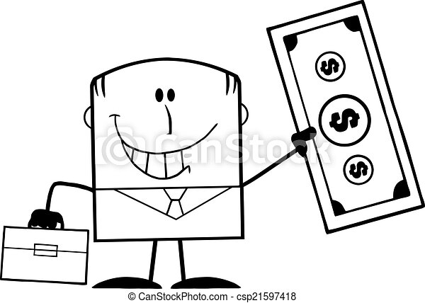 Black And White Lucky Businessman  - csp21597418