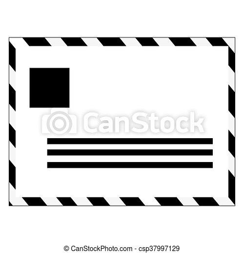 Black And White Mail Envelope , Vector Illustration