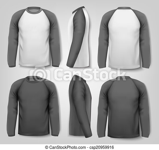Black and white male long sleeved shirts with sample text. Design template. Vector. - csp20959916