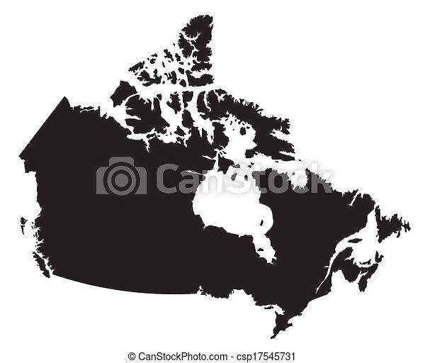 black and white map of Canada - csp17545731