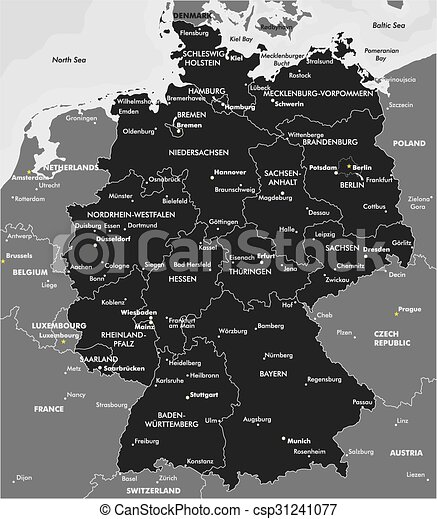 Black And White Map Of Germany