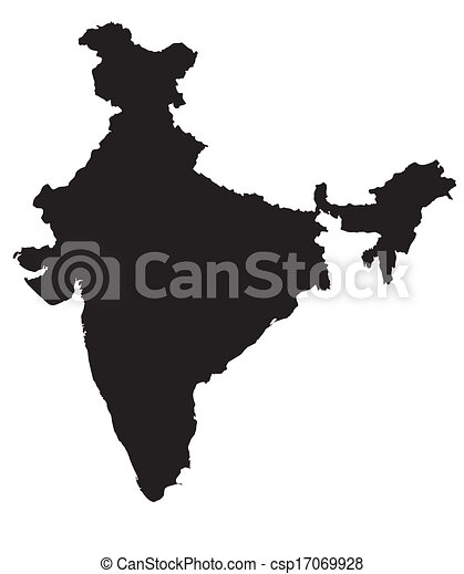 Black And White Map Of India   Csp17069928