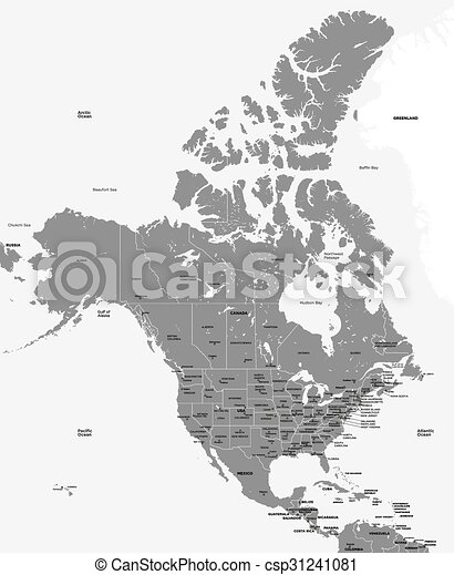 Black and white map of the USA and  - csp31241081