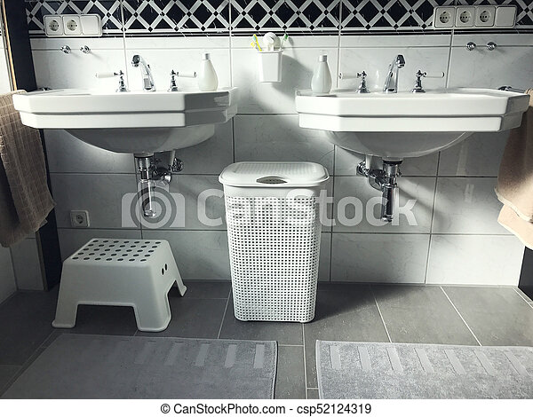 Black And White Modern Bathroom Interior View   Csp52124319