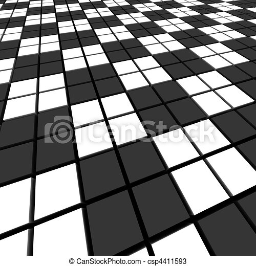 Black and white mosaic abstract background.  3d rendered image. - csp4411593